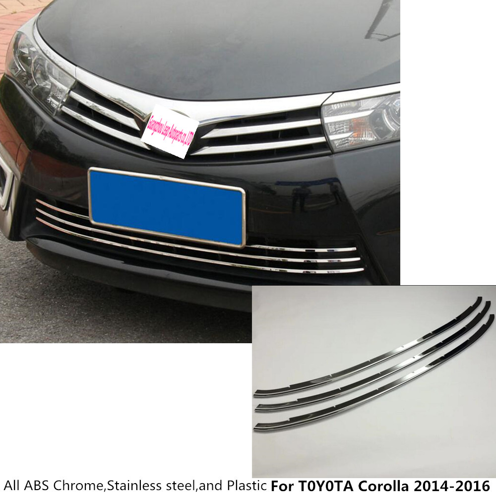 Car body styling protection stainless steel trim front up grid grill grille around 3pcs for toyota