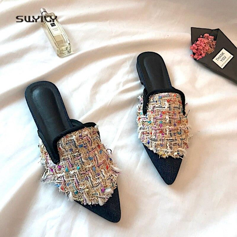 SWYIVY женская обувь на плоской подошве Mulers обувь вышивка Лето 2018 женские Layz носком Половина Тапочки женские шлепанцы острый носок удобные
