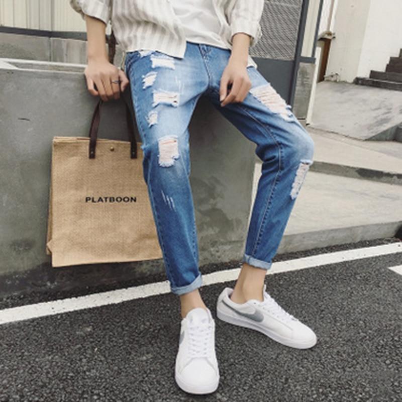 Men Pencil Pants Jeans Fashion Trousers Slim Fit Hole Distressed Pants for Teenage Mid Waist Casual Blue Dark Gray Denim Jeans