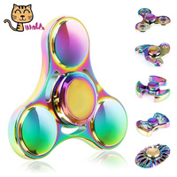 Metal Spinner Hand Colorful Anti Stress Fidget Spinner Toy Luminous Spinner Toys Adults EDC Tri Spinner