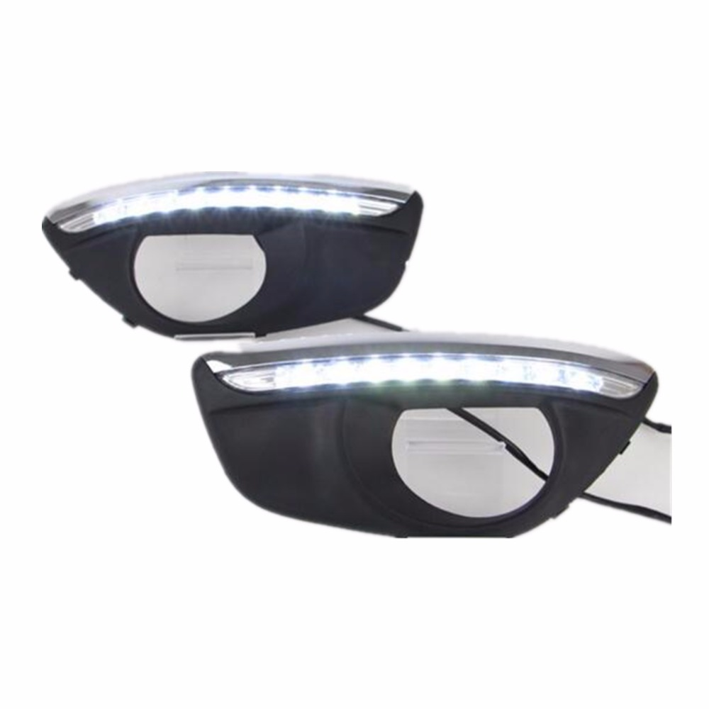 for Hyundai Santa Fe 2010-2012 Santafe  car-styling Car LED DRL Daytime Running Lights with fog lamp hole led day light