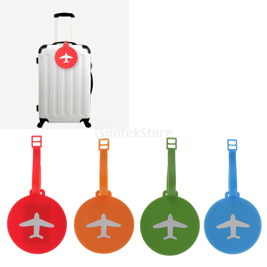 Plastic Round / Rectangle Shape Travel Luggage Tag Suitcase ID Label Security Tag