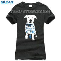 Custom T Shirts Cheap O Neck Comfort Soft Short Sleeve Home Is Where My Pitbull Is