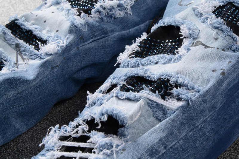 High Street Fashion Männer Jeans Blau Farbe Slim Fit Zerstört Zerrissene Jeans Männer Gebrochen Hosen Farbe Designer Patchwork Hüfte Hop jeans