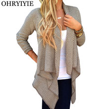 OHRYIYIE primavera otoño mujer Cardigan suéter Poncho 2018 moda Turn-down  Collar de punto Cardigans mujer irregular suéteres 32c47a5f25e