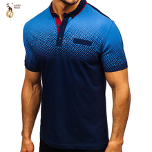 Aoliwen brand men Printed polo 95%cotton Anti-pilling summer short sleeve Gradient high quality slim fashion fro