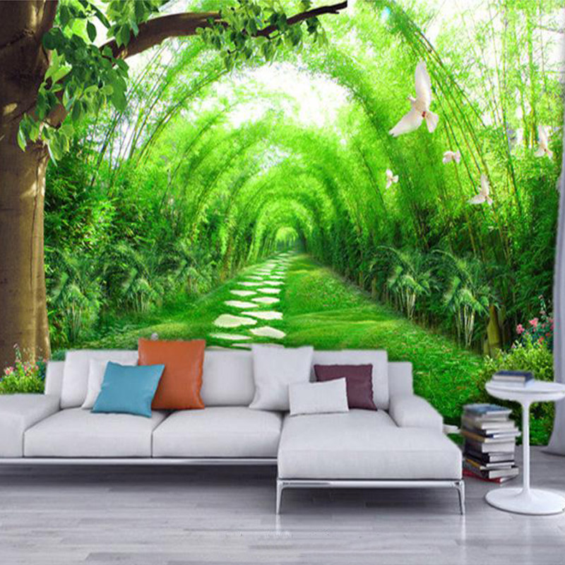 Custom 3D Wall Murals Wallpaper Living Room TV Background Non Woven Straw  Wallpaper Green Bamboo Forest Wall Mural Paintings In Wallpapers From Home  ... Part 56