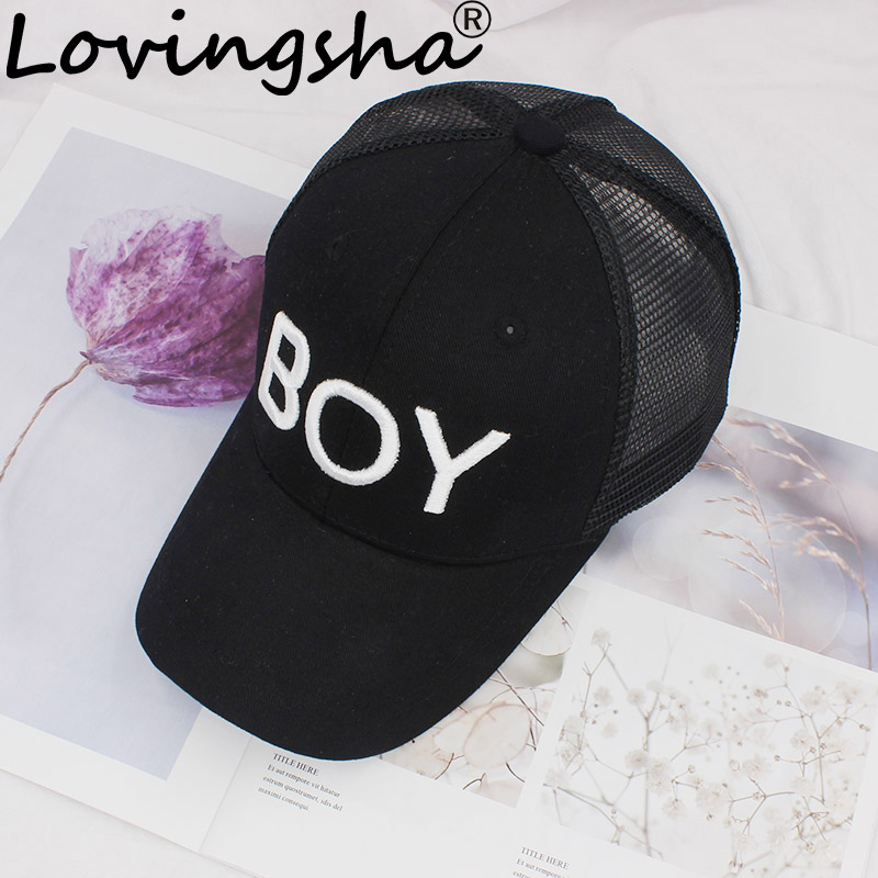 LOVINGSHA New Spring Summer 3D Letter BOY Cap Boy Adjustable Baseball Cap 3-8 Years Kids Snapback Hip-Hop Net Sun Hat C-12