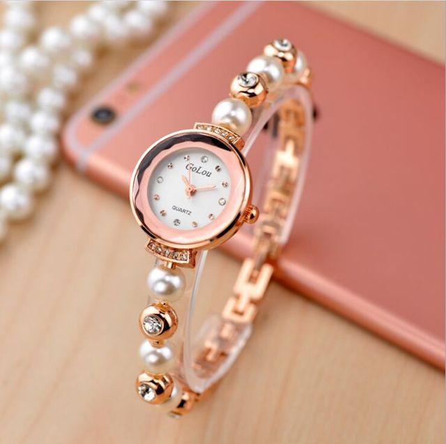 3c210ad7209 Venda quente Rosa de Ouro Pérola Pulseira Relógios Mulheres Senhoras Vestido  de Cristal Elegante relógio de