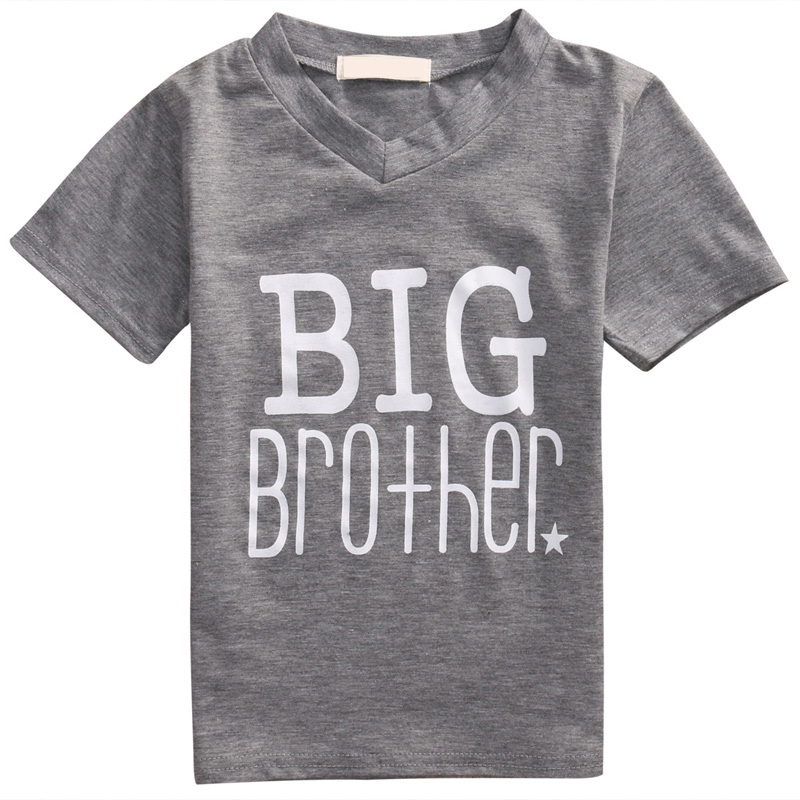 Kinderen grijs grote broer t shirt 2 7y jongens zomer for Big brother shirts for toddlers carters