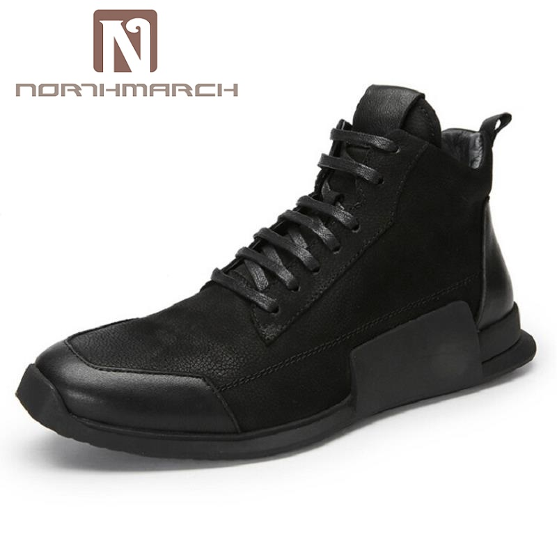 NORTHMARCH Newly Fashion Casual Shoes Leather Soft Spring Autumn Student Youth Trend Shoes Black men sneakers zapato hombre 2017 new spring imported leather men s shoes white eather shoes breathable sneaker fashion men casual shoes