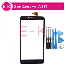 high quality 5.5″ For Lenovo A816 Touch Screen Digitizer Sensor Glass Lens Panel Black White + tools Free shipping