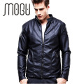 MOGU Stand Collar PU Leather Jacket Men Classic Fit Casual Motorcycle Jacket Brown Mens Leather Jackets 2017 New Arrival