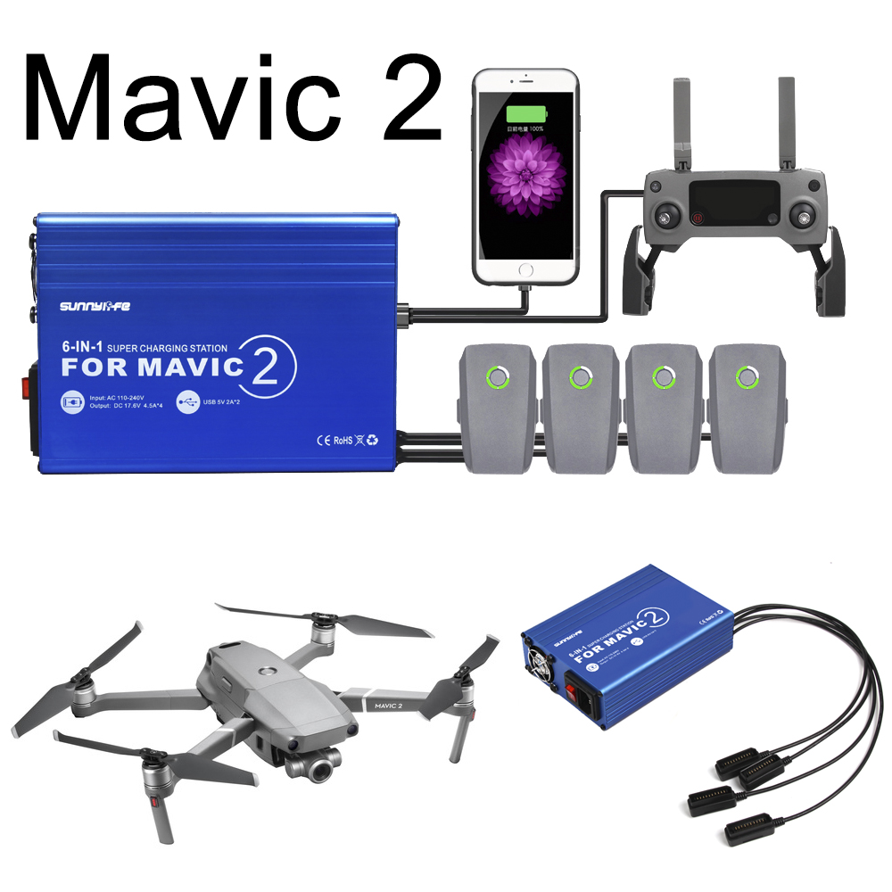 Mavic 2 Drone Battery Charger Charging Hub for DJI Mavic 2 Pro Zoom Intelligent Battery Manager Remote Control Charging Adapter dji mavic 2 pro zoom fly more kit inclduing mavic 2 pro battery shoulder bag propeller car charger battery to power bank adapter