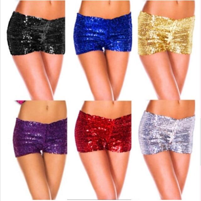 Бесплатная доставка блесток шорты необычные костюмы танец брюки ноги бурлеск Pin Up оптовая продажа золото черный фиолетовый красный серебристо-голубой S-2XL