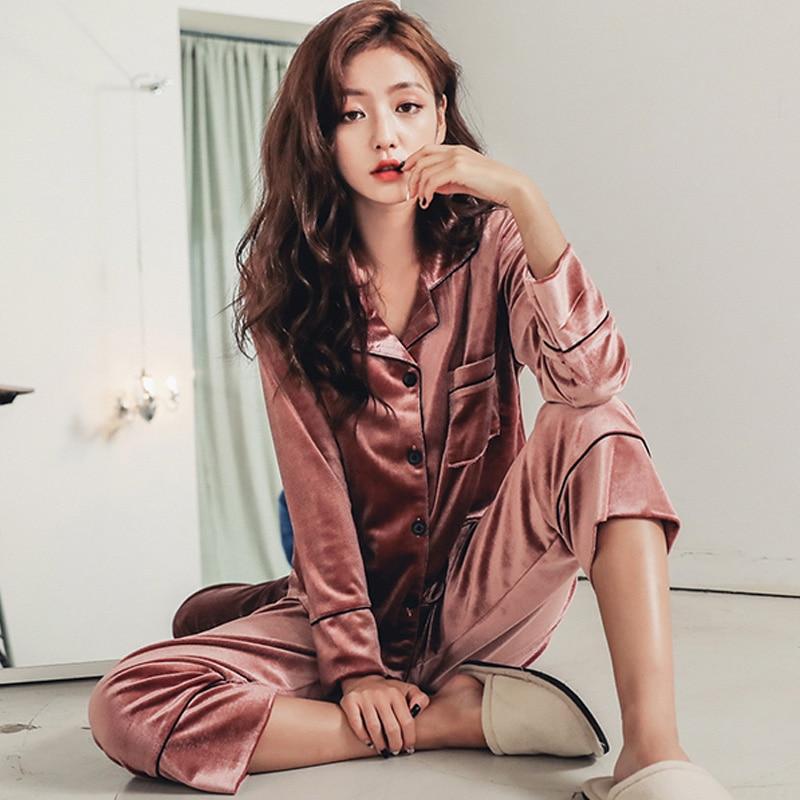 fashion Long Sleeve Gold Velvet Pajamas Set Winter Women Warm Pajama Sets Plus Size Sleepwear Pyjama 3XL 4XL 5XL Nightwear Set 15