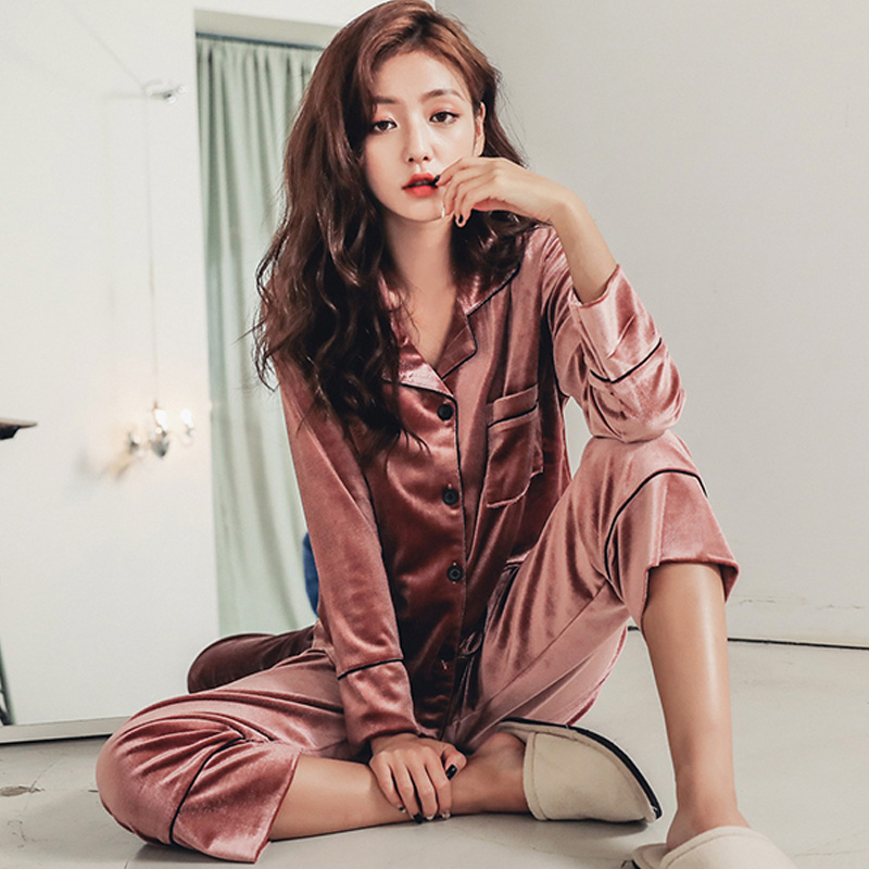 fashion Long Sleeve Gold Velvet   Pajamas     Set   Winter Women Warm   Pajama     Sets   Plus Size Sleepwear Pyjama 3XL 4XL 5XL Nightwear   Set