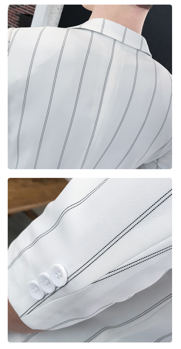 HTB1gXroRwHqK1RjSZJnq6zNLpXa2 custom Small Size Men's Wear Summer 2019 New Men's Middle Sleeve Suit Stripe Two piece Fashion Japanese Slim Suit