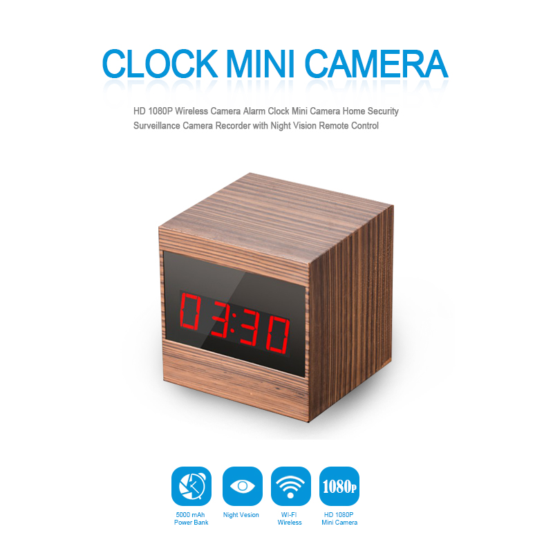 HD 1080P Wireless Camera Alarm Clock Mini Camera Home Security Surveillance Camera Recorder with Night Vision Remote Control Cam