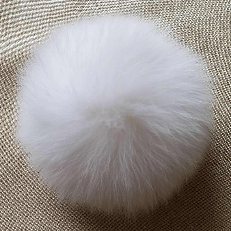 Preto Branco puro Real de Pele De Raposa Fofo Pompom Raposa Pele de Guaxinim Grande Bola Acessórios para Caps Chapéus Skullies Pom Pom saco De Pele Pompom