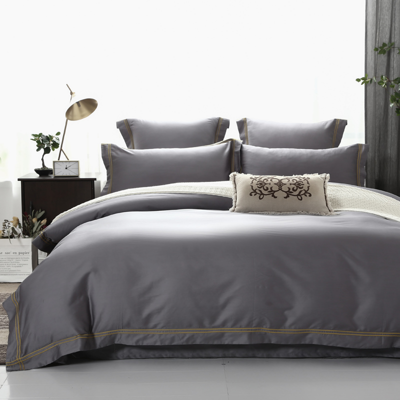 4/6 Pieces 600TC Egyptian Cotton Duvet Cover Bed Sheet Set Queen King Size Ultra Soft Simple Style Hotel Bedding Set Beige Color