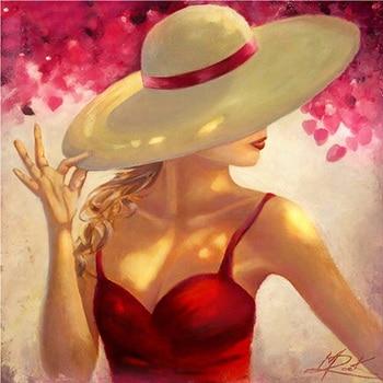 100% 5D Diy, pintura de diamante para mujer, sombrero 3D, pintura de diamantes de imitación, pintura de mosaico, decoración de bordado de diamantes