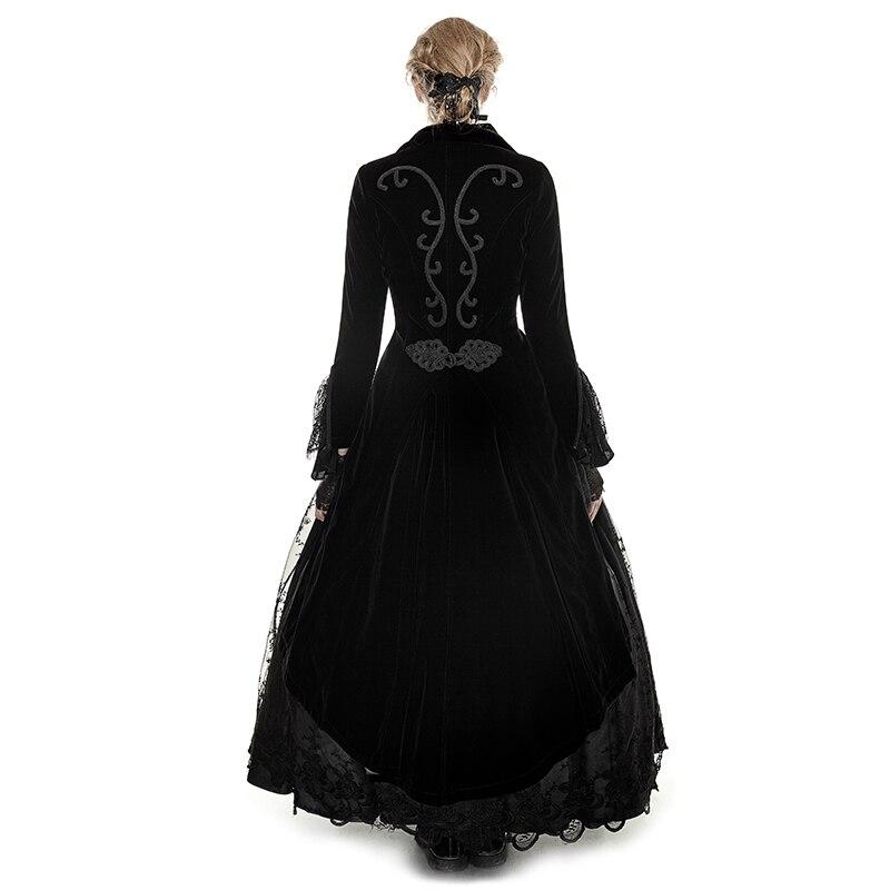 Mantel Schwanz Jacken Formale Punk Gotische Kragen Jacquard Partei Langes Drehen Frau unten Kleid Schwarz Mäntel Spitze qw8Ba