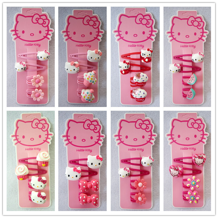 Fashion Children Headwear Bowknot Hello Kitty Hair Clips Gum Elastic Bands Hair Accessories Barrettes Scrunchies For Cute Baby magic elacstic hair bands big rose decor elastic hairbands hair clips headwear barrette bowknot for women girls accessories
