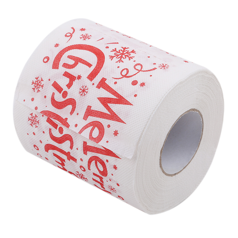 1 Roll Fashion Christmas Party Ornament DIY Craft Paper Santa Claus Printed Merry Christmas Toilet Paper Tissue Table Room Decor