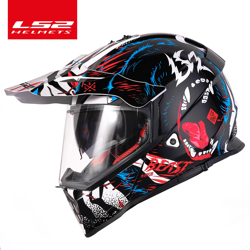 100% Véritable LS2 MX436 hors route moto rcycle casque avec pare-soleil moto-Cross moto cross casque double objectif racing moto ECE prouvé