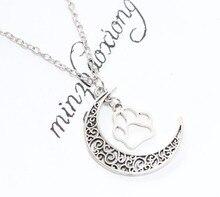 New Fashion Vintage Antique Silver Crescent Moon & Paw prints Charms Pendant Chain Necklaces Women Gift 10PCS