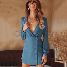 Cuerly Turn down collar sexy pleated chiffon dress women Autumn short button pencil dress female summer party casual dresses L5