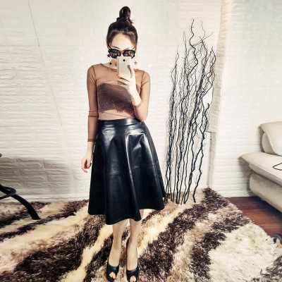 2019 New Fashion Genuine Sheep Leather Skirt Y18 in Skirts from Women 39 s Clothing