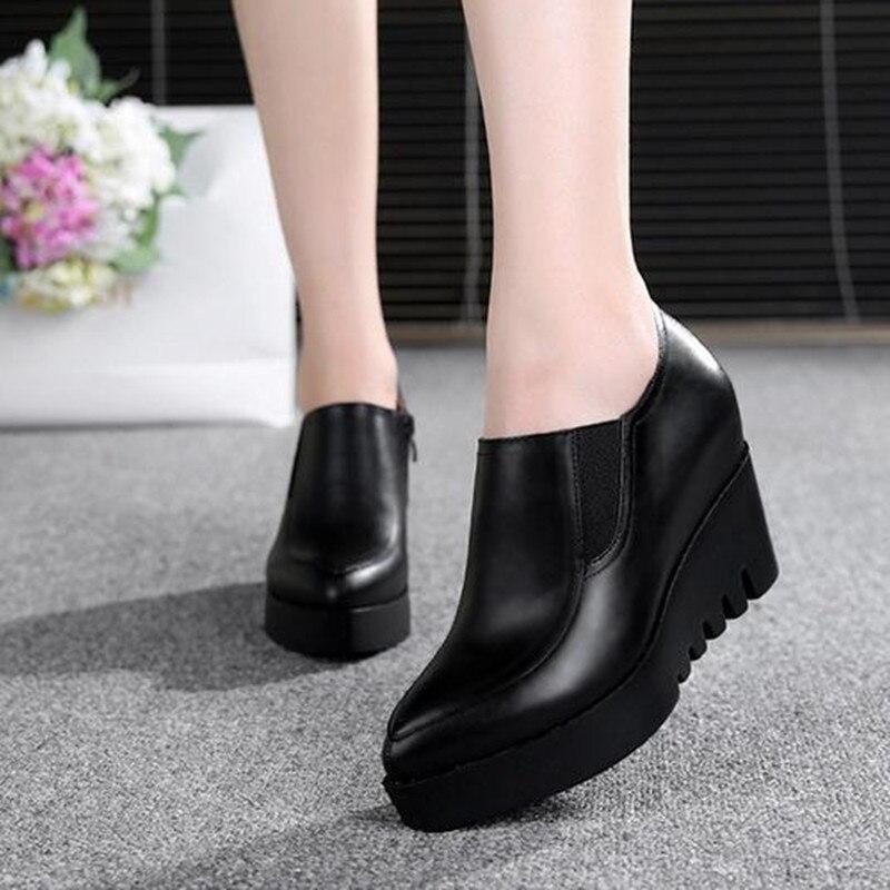 waterproof platform wedges Women Shoes Genuine Leather Large size high heels women pumps fashion Platform shoes