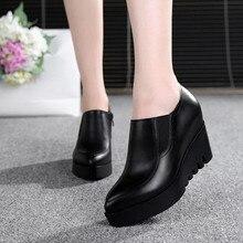 waterproof platform wedges Women Shoes Genuine Leather Large size high heels women pumps fashion Platform shoes obuv Schuhe