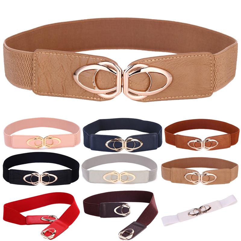 Fashion PU Leather Elastic Wide Belts for Women Stretch Thick Waist Belt Dress Plus Size By Beltoxfine