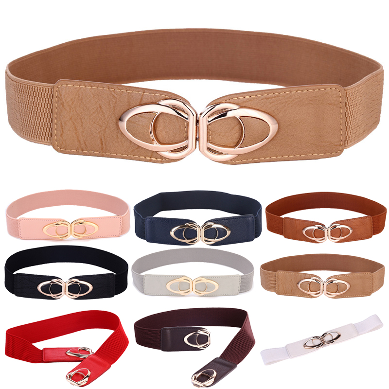 PU Leather Elastic Wide   Belt   for Women Stretch Thick Waist   Belt   for Dress Fashion Stretch women   belts   plus size