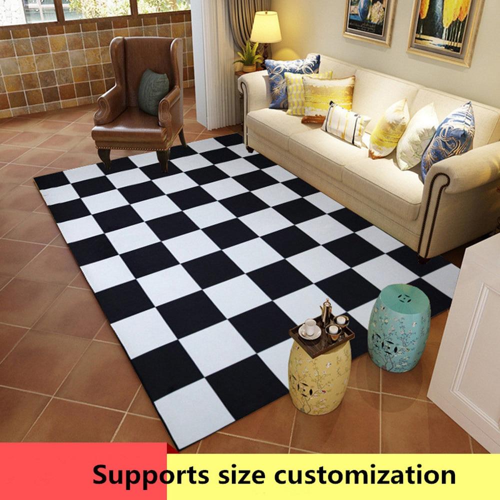Moderne minimaliste salon tapis 3D imprimé doux anti-slip tapis noir et blanc tapis géométriques polyester tapis de sol