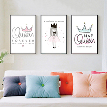 Queen Crown Cartoon Canvas Painting Girls Princess Posters Print Nordic Wall Art Pictures for Kids Room Home Decoration Unframed