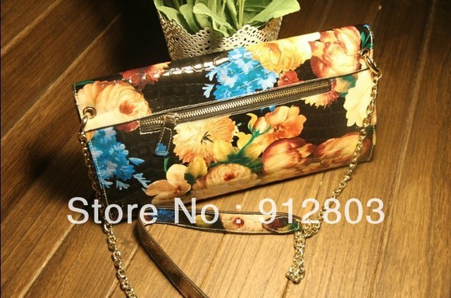 [ANYTIME] PROMOTION! Women's GENUINE LEATHER Flower Handbag with ZIP, Ladies Fashion Oil Painting Day Clutch Evening Party Bag