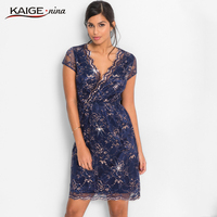 KaigeNina New Fashion Hot Sale Women Flower Natural Simple Printing Cloth V Neck Mid Calf Lace