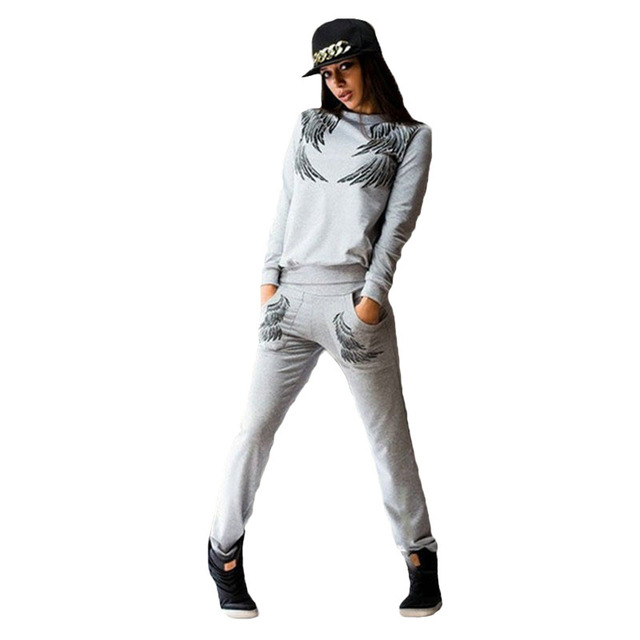2018 New Women Tracksuits Set Long Sleeves Feathers Print Casual Sporting Suit Two Piece Set Women Sweat Suit Tracksuits