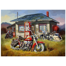 5D DIY Diamond Painting Motorcycle gas station Landscape Embroidery Cross Stitch Full Square / Round painting gift FG272