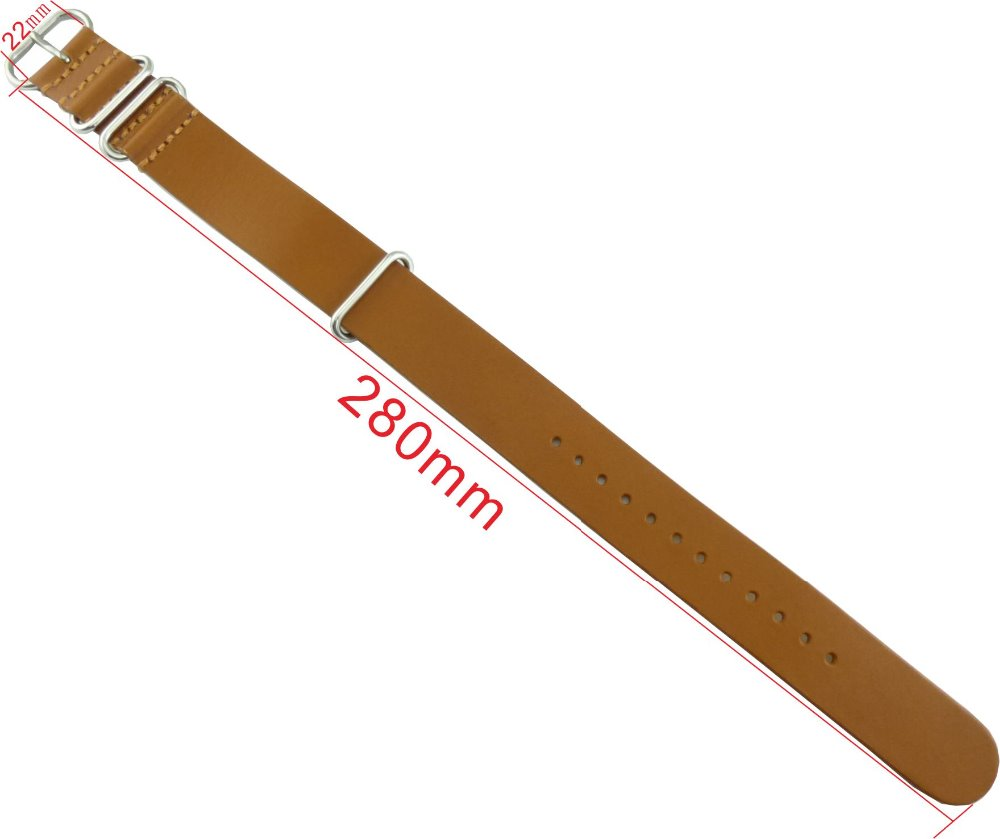 22M brown leather Nato watch band