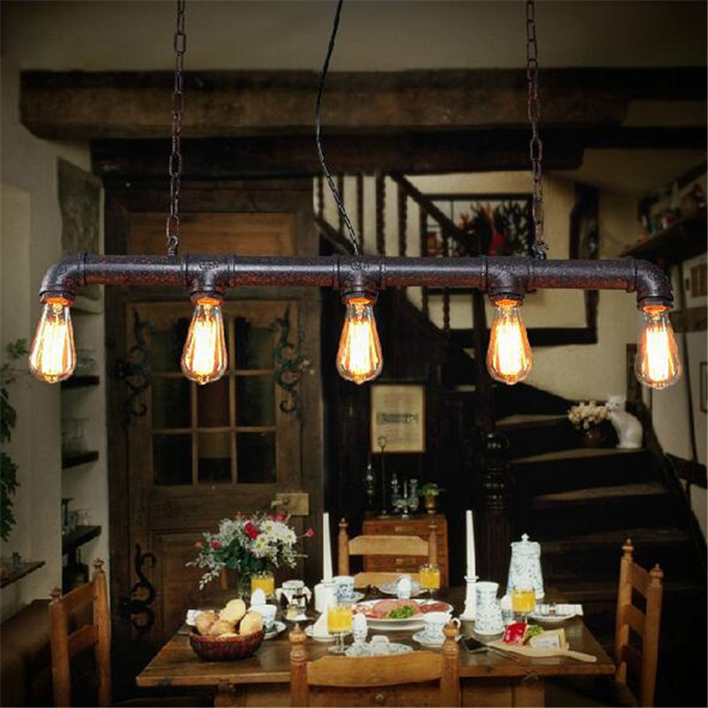 loft american industrial style pendant light retro rustic steampunk metal pipe edison bulbs for. Black Bedroom Furniture Sets. Home Design Ideas