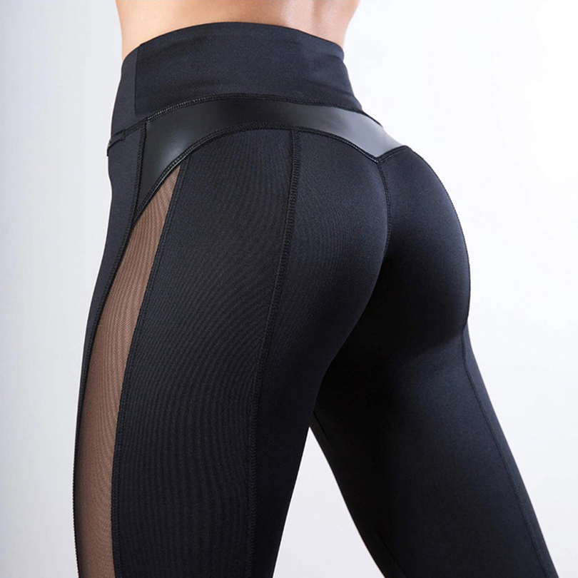 High Waist Sexy Mesh Hip Women Black Leggings Elasticity Spandex Sports Workout Leggings Fitness Feminina 2019 Casual Clothing