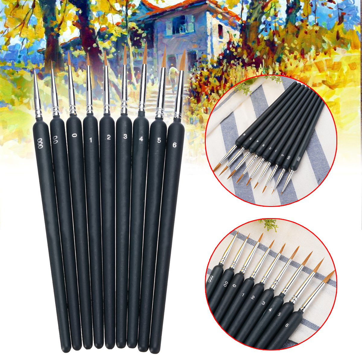 9pcs/Set Paint Brushes Artist Weasel Hair Brush Pen For Oil Painting Gouache Watercolor Paint For Beginners Drawing