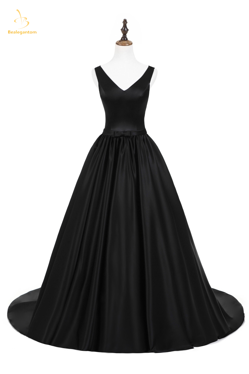 US $74.99 40% OFF|Bealegantom 2019 Elegant 100% Real Photo Black V Neck  Long Prom Dresses Beaded Plus Size Formal Evening Party Gown QA1580-in Prom  ...