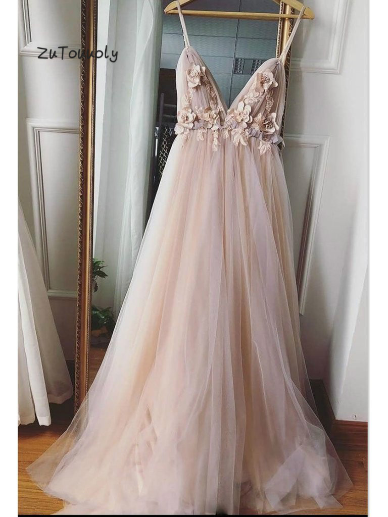 Fairytale Flower Evening Dress Spaghetti Straps Tulle Evening Dresses Sexy Backless Boho Junior Prom Dress For Graduation Date
