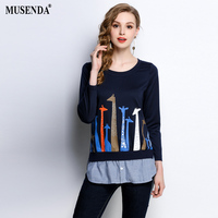MUSENDA Plus Size Women Ribbing Collar Print Patchwork Sweatshirts 2018 Spring Female Lady Casual Hoodies Tops